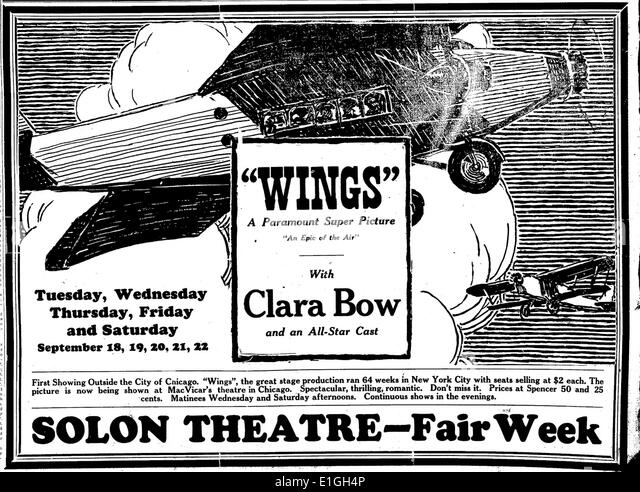 'Wings', with Clara Bow, a 1927 film. - Stock Image