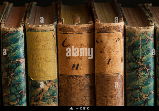 Spines of antiquarian books, written by Marcus Tullius Cicero - Stock-Bilder