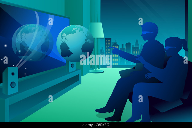 Illustration of a couple watching 3-D movie - Stock Image