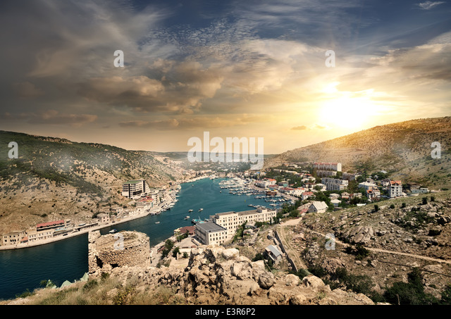 View of the evening of Balaklava in Crimea - Stock Image