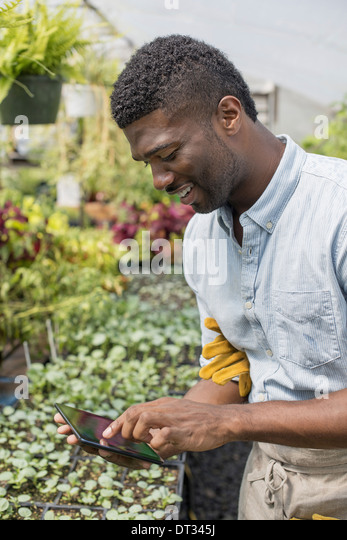 A man using a digital tablet - Stock Image