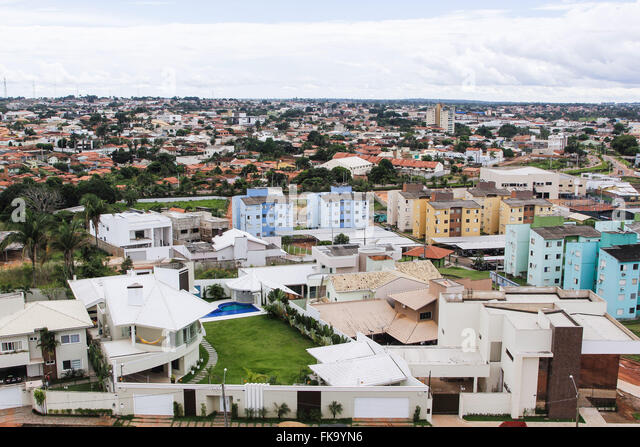 Top view of the city with contrasting homes and high standard housing right - Stock Image