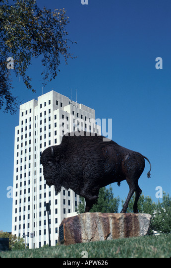 North Dakota Upper Midwest Great Plains State Bismarck state capital building bison statue - Stock Image