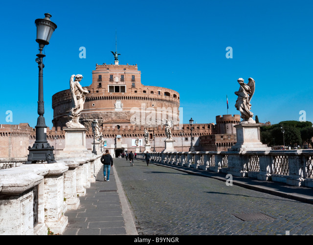 Castel Sant'Angelo from the pedestrian bridge, Ponte Sant'Angleo, Rome - Stock Image