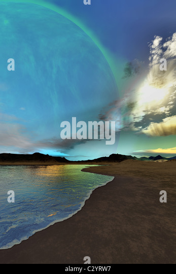 Beautiful skies shine down on this cosmic seascape. - Stock Image