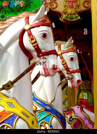 carrousel horses, San Francisco, California, USA, side view - Stock Image