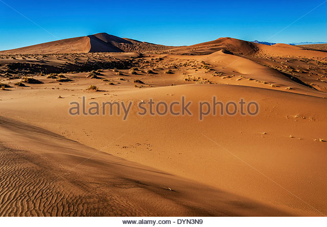 The open spaces and landscape vista of this shot taken in the southern Namib desert shows the serenity of the desert. - Stock Image