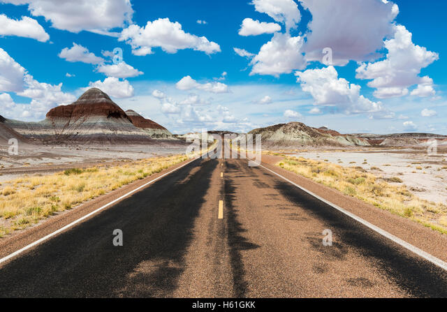 Empty road in the desert in the State of Arizona, USA; Concept for road trip and travel in America - Stock-Bilder