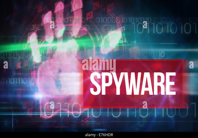 Spyware against blue technology design with binary code - Stock Image
