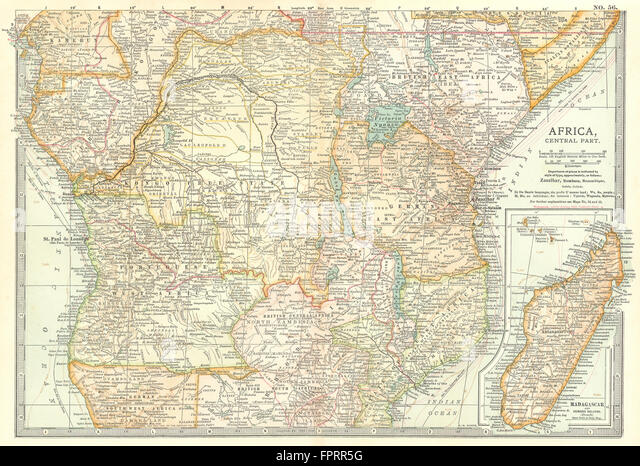 CENTRAL AFRICA: Tanzania, Kenya, Angola, Zambia, Congo, Mozambique, 1903 map - Stock-Bilder