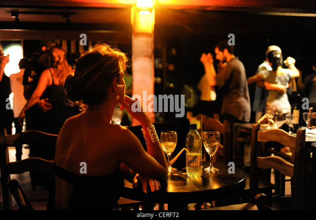 URUGUAY Montevideo Tango dancing at night  in Museo del Vino - Stock Image