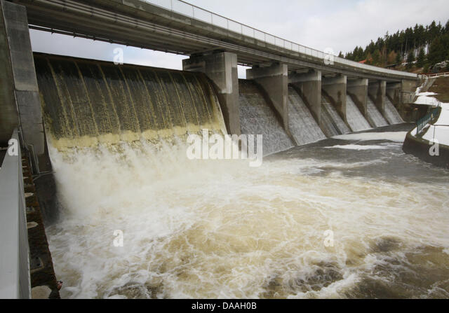 The water reservoir Koenigshuette overflows as planned to make room for more water that will come with thaw and - Stock Image