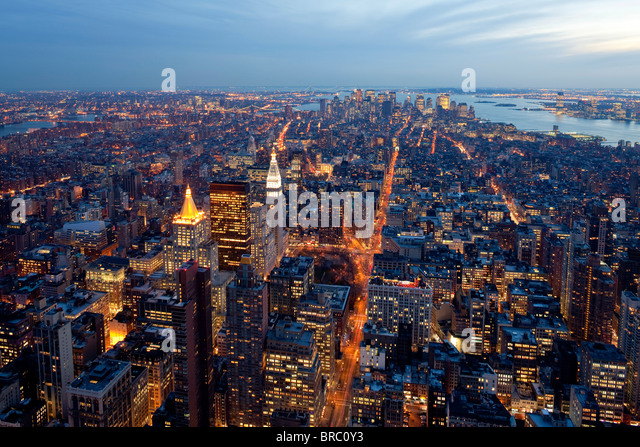 Elevated view of Mid-town Manhattan at dusk, New York City, New York, USA - Stock Image