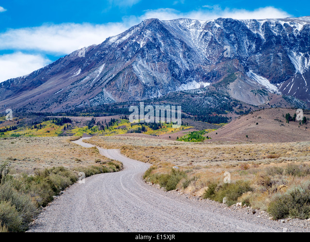 Road in June Lakes Loupe. Sierra Nevada Mountains, California - Stock Image