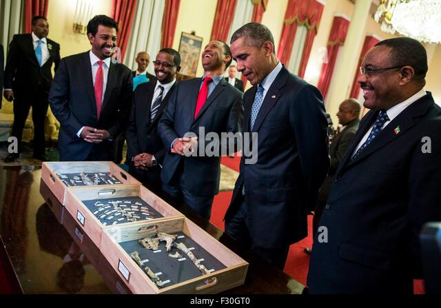 U.S. President Barack Obama and Ethiopia Prime Minister Hailemariam Desalegn view bone fragments belonging to 'Lucy,' - Stock Image