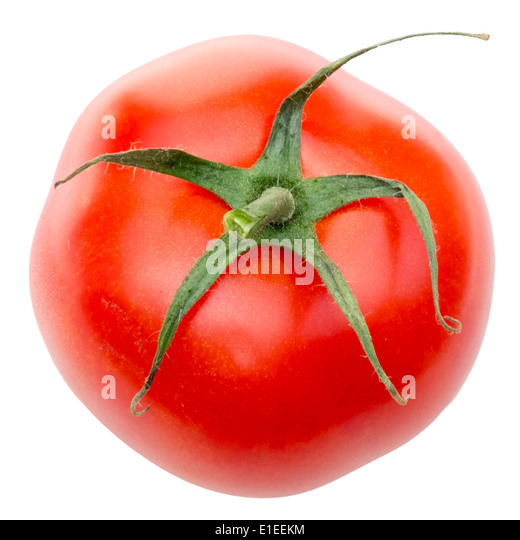 Overhead shot of a tomato cut out against a white background. - Stock Image