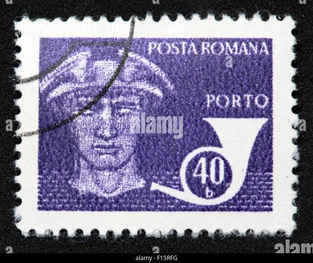 Posta Romana Porto 40b blue stamp - Stock Image