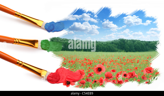 Three brushes paint a beautiful landscape with poppies. - Stock Image