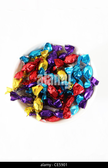 A bowl of sweets or candy - Stock Image