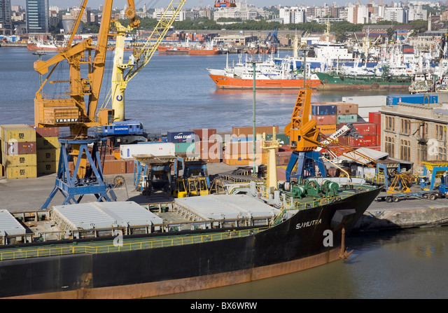 Ship docked in the Commercial Port of Montevideo, Uruguay, South America - Stock Image
