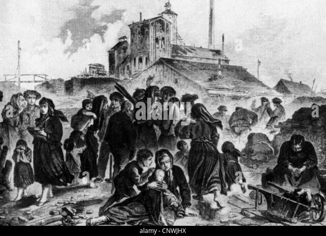mining, disasters, mine disaster at Lugau, Saxony, 1.7.1867, relatives waiting at the shaft entrance, contemporary - Stock-Bilder