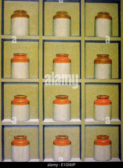 Nikulas, Antique Bottles, 1991. Oil on canvas. - Stock Image