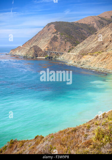 California coastline along Pacific Coast Highway, USA. - Stock Image