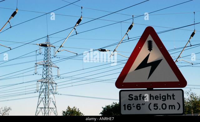 Danger Overhead Live Wires Stock Photos Amp Danger Overhead