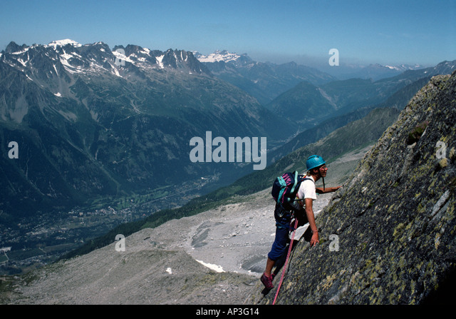 PICTURE CREDIT DOUG BLANE Rock climbing at Les Gaillands Massif du Mont Blanc Chamonix France - Stock Image
