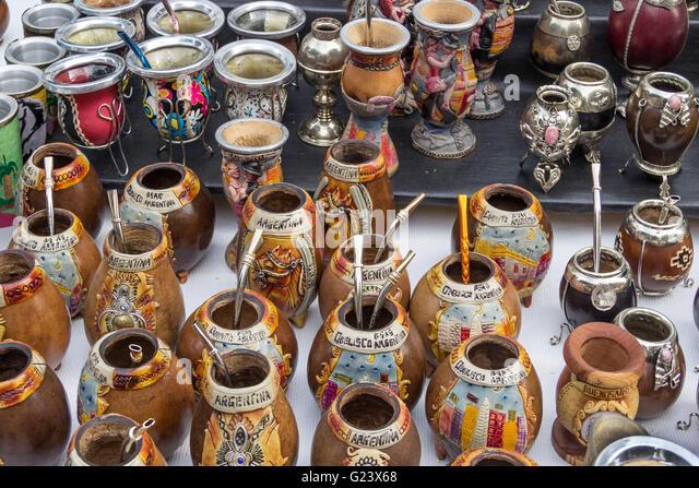 Mate tea cups,  Antique market, Plaza Dorrego,  San Telmo,  Buenos Aires, Argentina - Stock Image