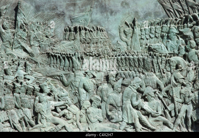 A scene from the Battle of Austerlitz carved on a bronze plaque at the church Val de Grace in Paris - Stock Image
