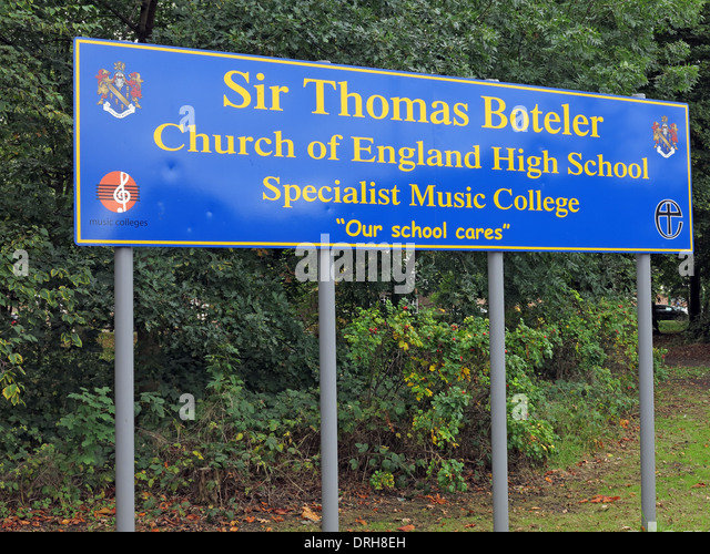 Sir Thomas Boteler school sign Latchford warrington England UK - Stock Image