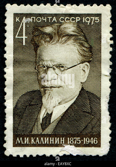 USSR - CIRCA 1975: A stamp printed in USSR shows Mikhail Kalinin, head of state of the Soviet Union for 25 years, - Stock Image