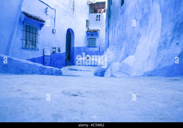 Pets on Street in medina of blue town Chefchaouen, Morocco - Stock Image