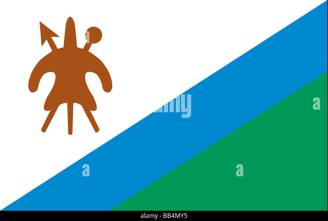 Historical flag of Lesotho, up to year 2006 - Stock Image