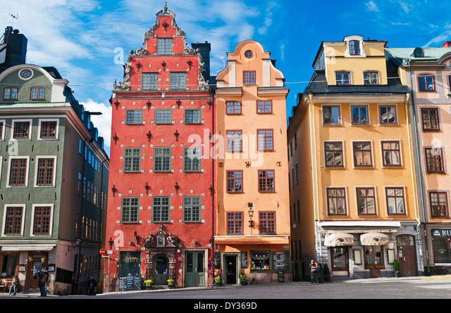 Stortorget Central Square Gamla Stan Stockholm Sweden - Stock Image