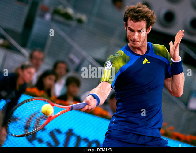 09.05.2013 Madrid, Spain. Andy Murray of Great Britain plays a forehand to Giles Simon of France  during the game - Stock Image