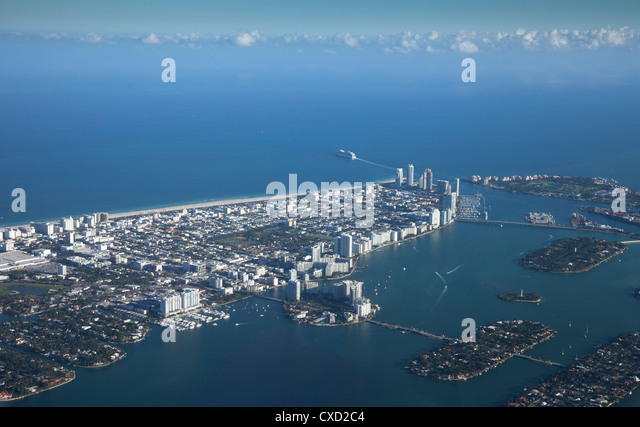 Aerial view of Miami Beach, Florida, United States of America, North America - Stock Image
