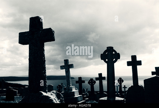 Mortehoe cemetery North Devon - Stock Image