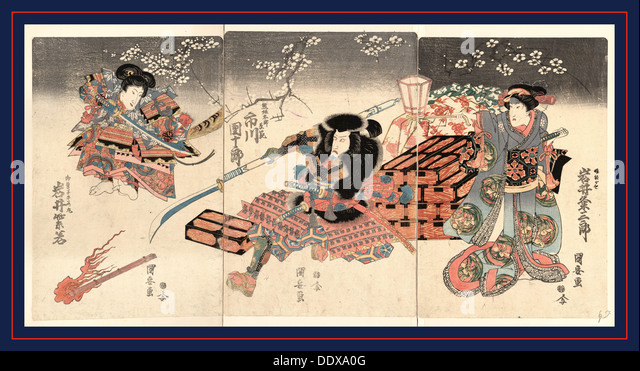 Iwai kumesaburo ichikawa danjuro iwai shijyaku, The actors Iwai Kumesaburo Kuniyasu, 1794-1832, [between 1818 and - Stock Image