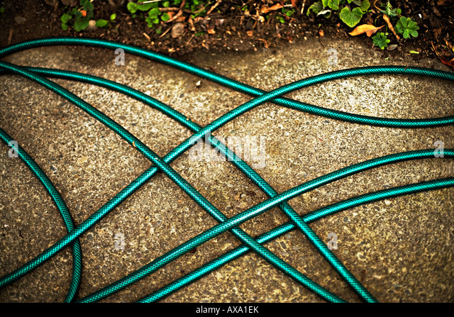 Garden hosepipe on concrete path - Stock Image