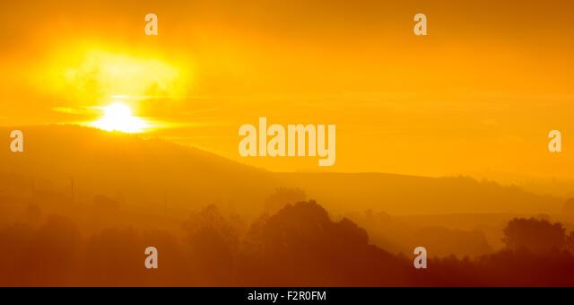 Sumava abstract fog sunrise - National park Sumava is most popular tourist destination - Stock-Bilder