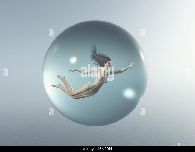 Woman floats in a bubble. This is a 3d render illustration - Stock Image