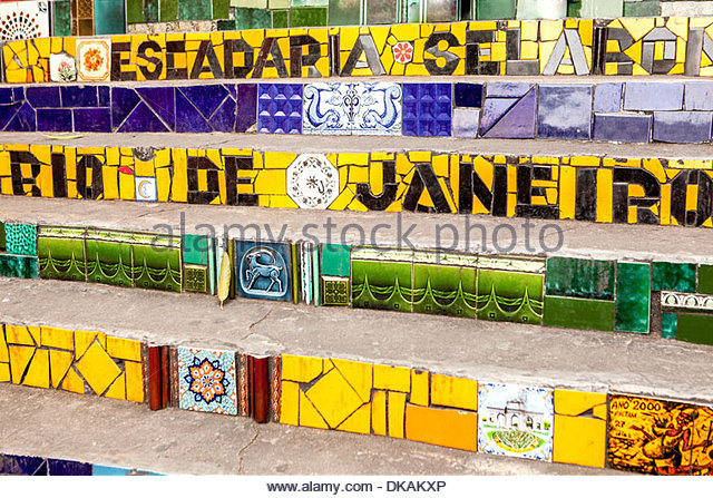 The Escadaria Selaron steps in Rio de Janiero, Brazil - Stock Image