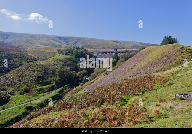 Grwyne Fawr Reservoir Dam in Autumn in the Black Mountains of Monmouthshire Gwent in Wales - Stock Image