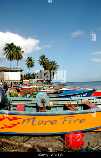 Grenada caribbean island fishing town of Gouyave colorful fishing boats on beach palm trees blue sky background - Stock Image