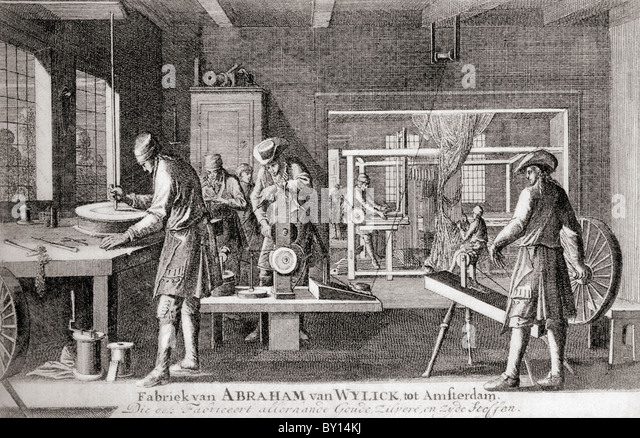 The factory of Abraham van Wylick showing the silk industry in Amsterdam in the 17th century. - Stock-Bilder