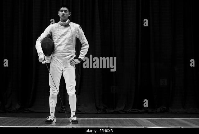 Alexander Chiang finished the 2014 NCAA Fencing Championships ranked 17th out of 24 with eight wins. - Stock Image