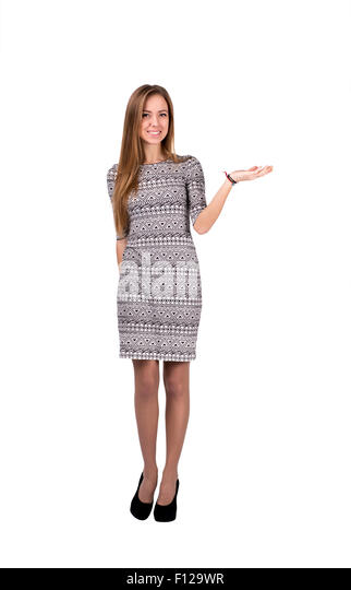 Blond Caucasian female shows open hand - Stock Image