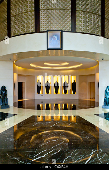 The interior of the Raffles Dubai Hotel in Dubai, UAE. - Stock Image